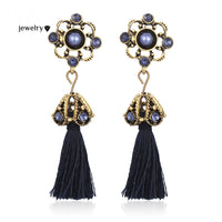 Tassel Stud Earrings Fashion Vintage Crystal Flower Earrings For Women