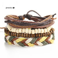 Wrap Leather Bracelets Vintage Beads 4PCS/Set Cuff