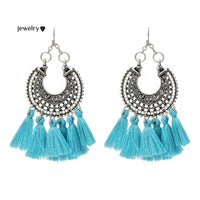 Tibetan Hollow Out Fringed Chandelier Earrings For Women Multicolor Tassel Earring Silver Color