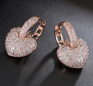 Sparkling Top Quality Fashion Earring Genuine Austria Crystal Cubic Zirconia Heart Stud Earrings