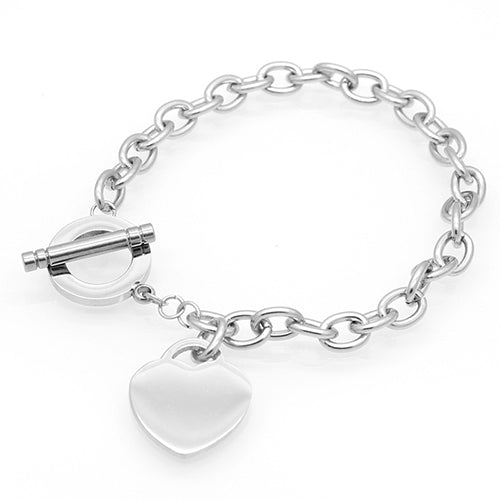 8 Inches Titanium Steel Chain Bracelets Love Heart OT Toggle Clasp Link Charm Bracelets & Bangles