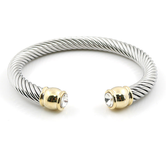 Elastic Charms Wire Stainless Steel Twist Cuff Bracelets & Bangle
