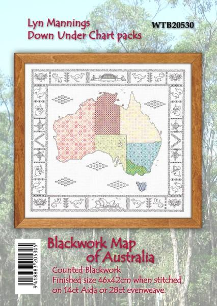 Chart - Blackwork Map of Australia - [product-vendor] - Craftco Ltd - NZ
