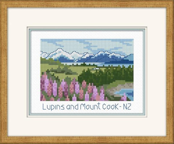 Lupins and Mt Cook 15x11 on 14ct Aida - [product-vendor] - Craftco Ltd - NZ