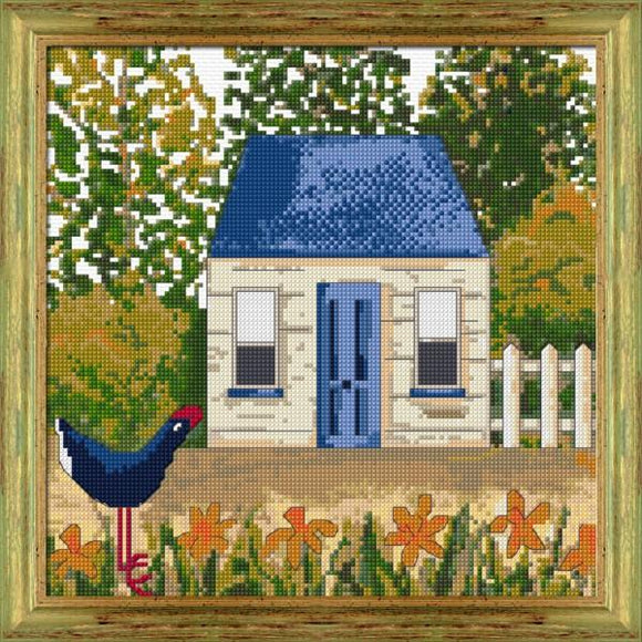 Blue Cottage 25x25cm 14ct White Aida - [product-vendor] - Craftco Ltd - NZ