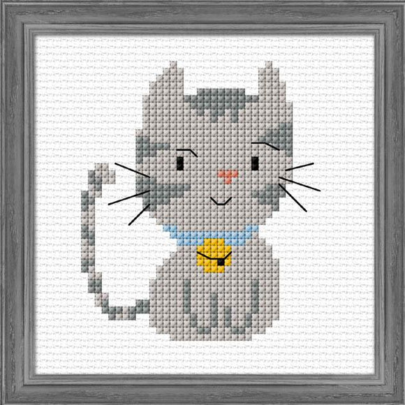 Silver Kitten 12x12cm on 11ct Aida - [product-vendor] - Craftco Ltd - NZ