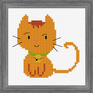 Ginger Kitten 12x12cm on 11ct Aida - [product-vendor] - Craftco Ltd - NZ