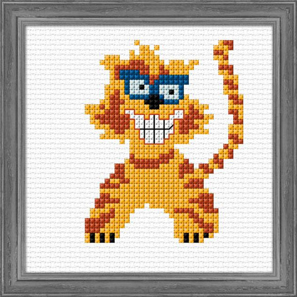 Crazy Cat 12x12cm on 11ct Aida - [product-vendor] - Craftco Ltd - NZ