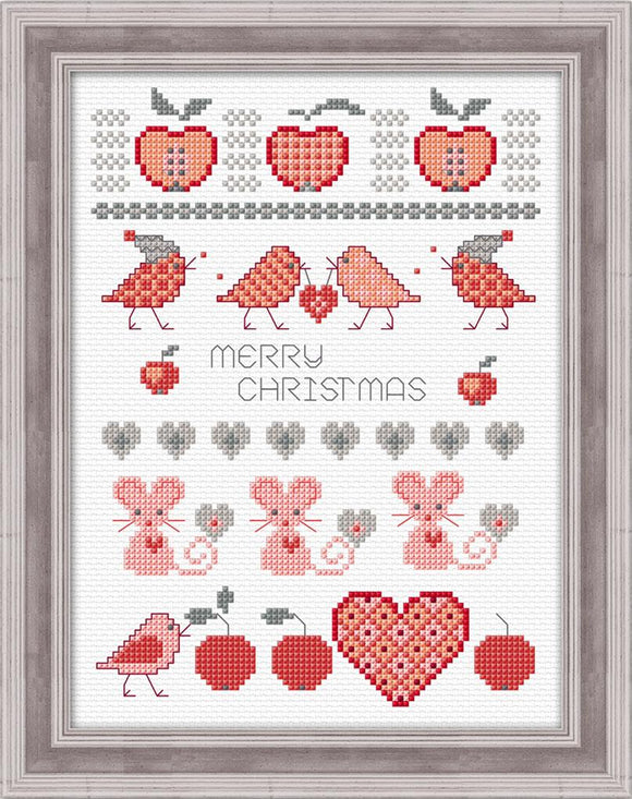 Sugar Mice Sampler 14x22cm on 14ct White Aida - [product-vendor] - Craftco Ltd - NZ