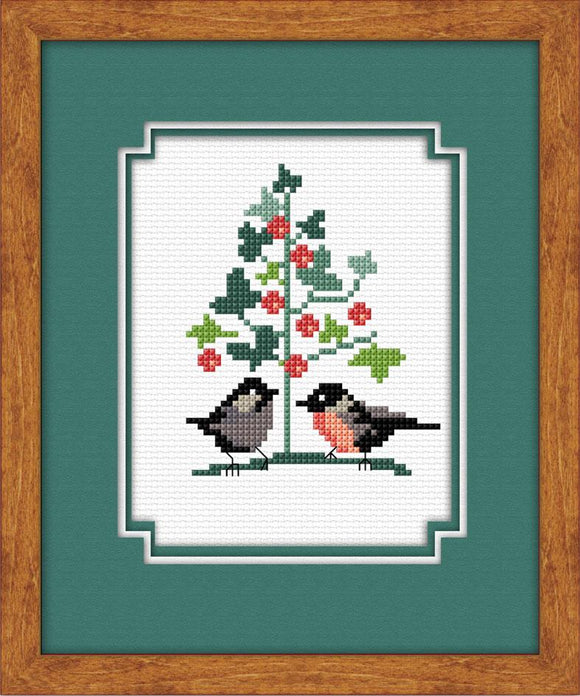 Birds Xmas Tree 11x15cm on 14ct White Aida - [product-vendor] - Craftco Ltd - NZ