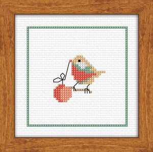 Bird and Bauble 10x10cm on 14ct White Adia - [product-vendor] - Craftco Ltd - NZ