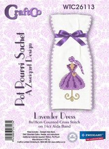 Lavender Dress Sachet on 8cm Aida Band - [product-vendor] - Craftco Ltd - NZ