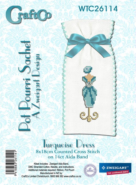 Turquoise Dress Sachet on 8cm Aida Band - [product-vendor] - Craftco Ltd - NZ