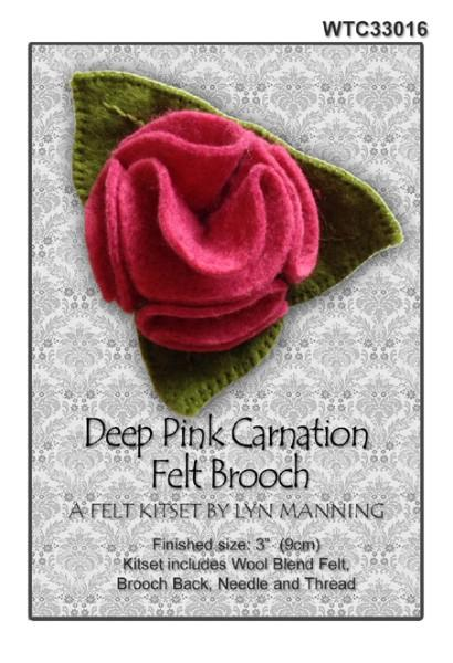 Deep Pink Carnation Felt Brooch Kitset 9cm - [product-vendor] - Craftco Ltd - NZ