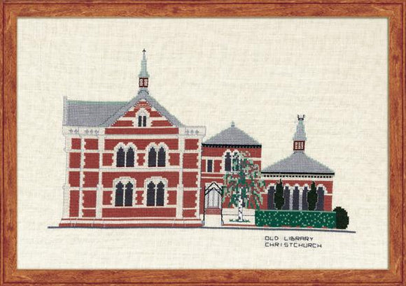 Old Library Christchurch 32ct Linen 42x30cm - [product-vendor] - Craftco Ltd - NZ