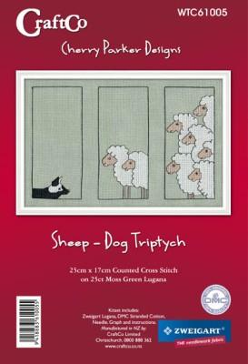 Sheep - Dog Triptych 25x17cm on 25ct Lugana - [product-vendor] - Craftco Ltd - NZ
