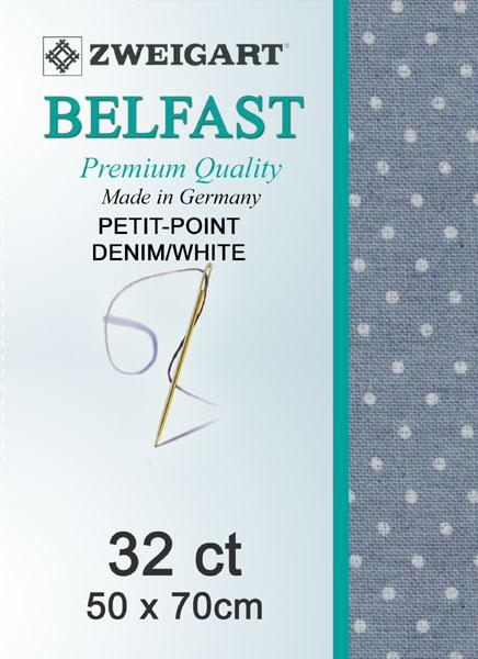 Belfast Fat Quarter 32 Petiti-Point Denim-White - [product-vendor] - Craftco Ltd - NZ