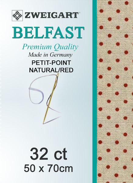 Belfast Fat Quarter 32 Petiti-Point Natural-Red - [product-vendor] - Craftco Ltd - NZ