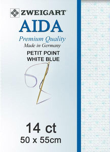 Aida Fat Quarter 14 Petiti-Point White Blue - [product-vendor] - Craftco Ltd - NZ