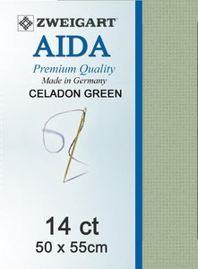 Aida Fat Quarter 14 Sage Greeen - [product-vendor] - Craftco Ltd - NZ
