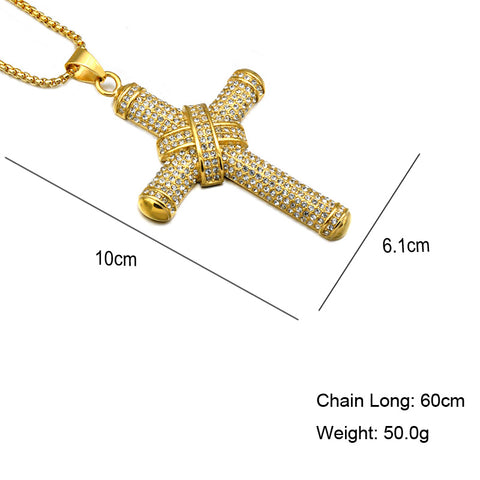 Golden cross pendant necklace bling bank golden cross pendant necklace mozeypictures Image collections