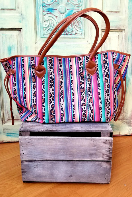 Serape and Leopard tote