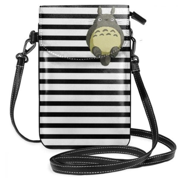 Totoro Striped Leather Sling Bag