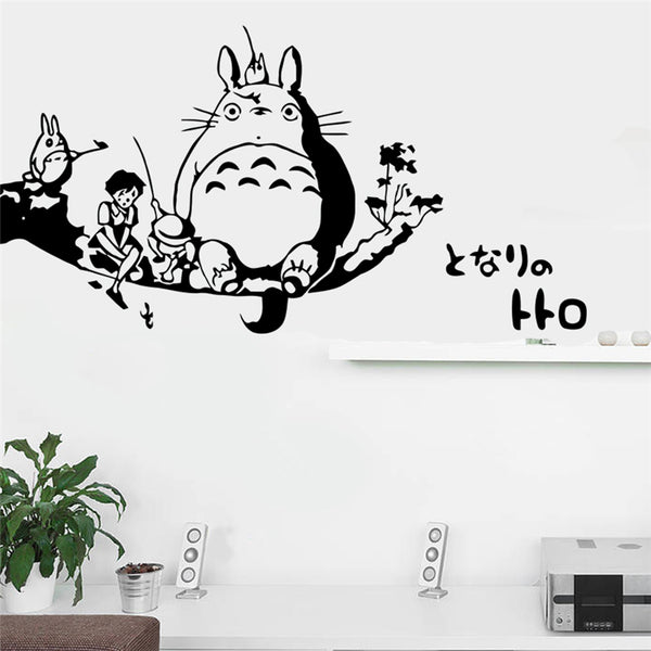 My Neighbor Totoro Sitting on Tree with Mei and Satsuki Sticker - Studio Ghibli Shop