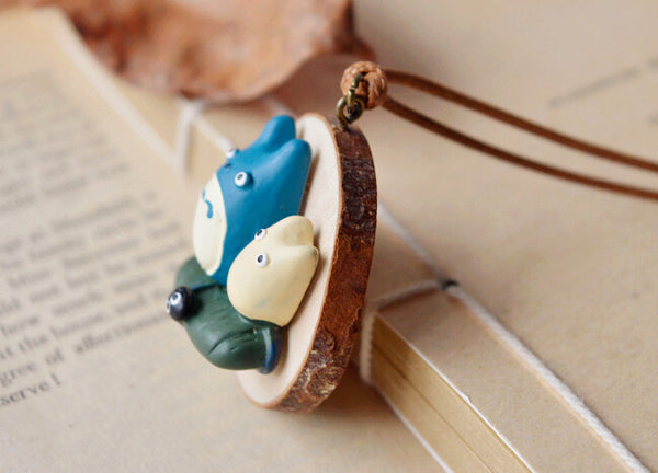 Blue and White Totoro Long Wax Pendant Necklace - Studio Ghibli Shop