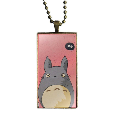 Pink Background Totoro Necklace