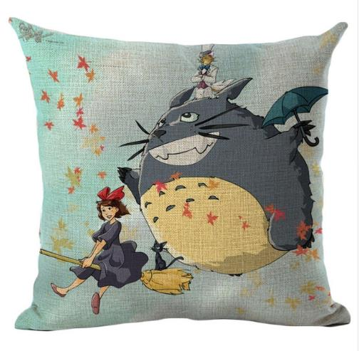 Fly with Totoro and Kiki Cushion Cover