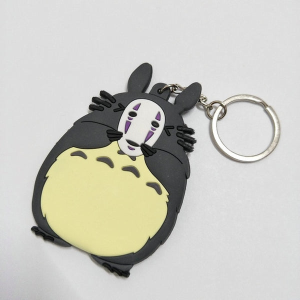 Totoro with No Face Mask Keychain