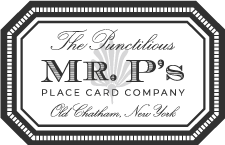 The Punctilious Mr. P's Place Card Co. Logo