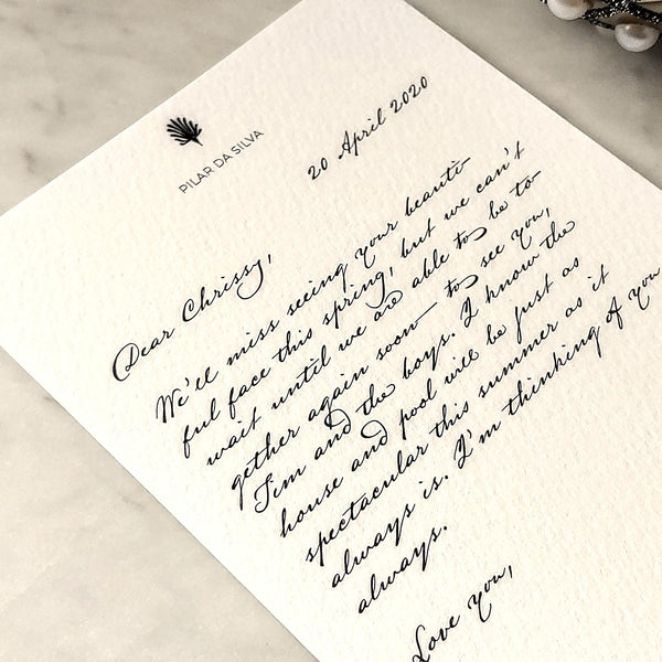 The Punctilious Mr. P's personalized note card in old kinderhook script