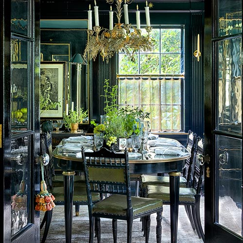 The Punctilious Mr. P's Place Card Co famed black lacquer dining room with antique dining table and chairs with zodiac symbols