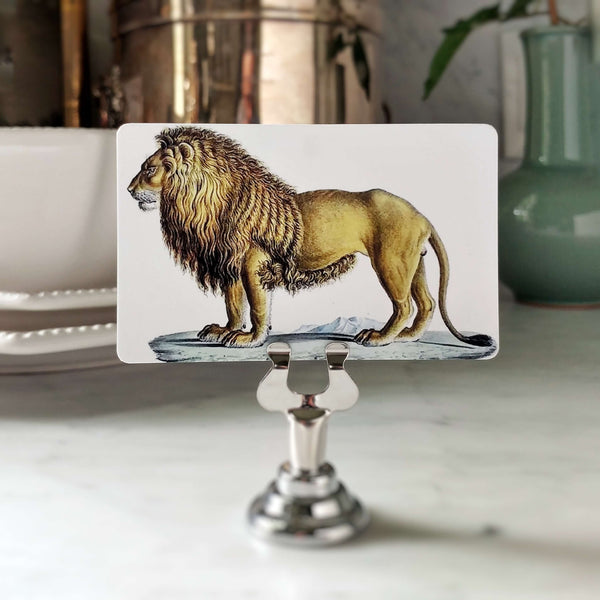 Engraving of a Lion on a Place Card