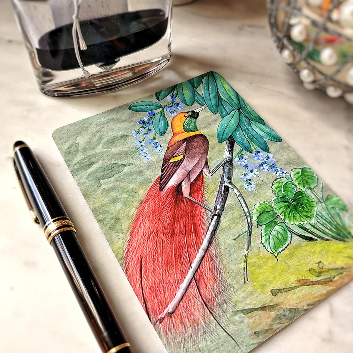 Mr. Ps Birds of India fine note cards with fountain pen and bottle of ink beside it.