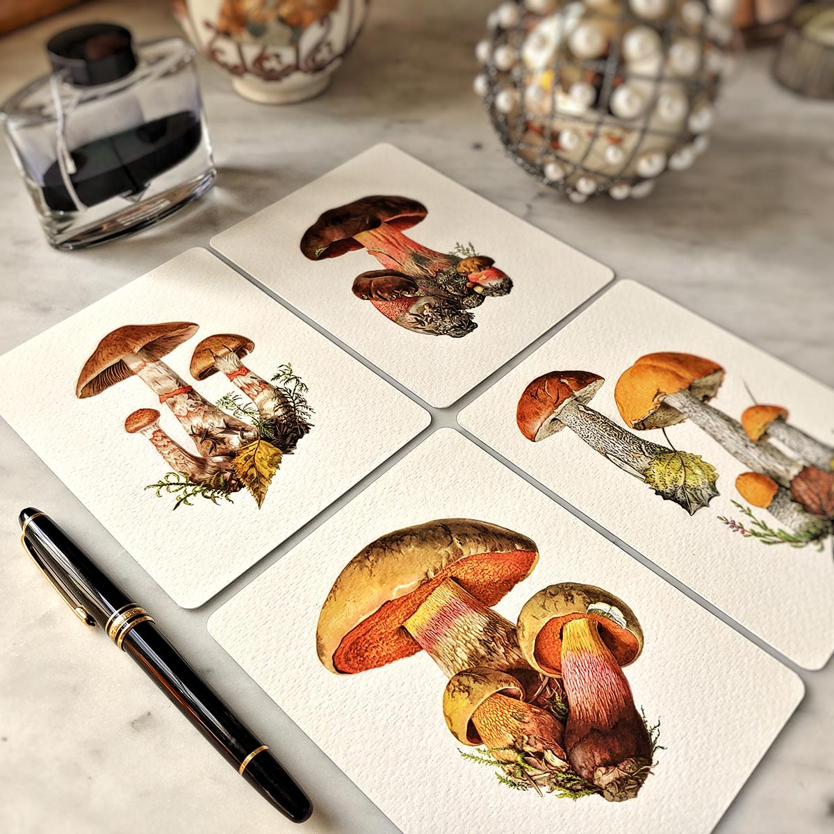 The Punctilious Mr. P's 'boletus beauties' mushroom note card pack--- showing all four cards