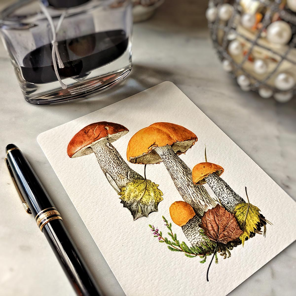 The Punctilious Mr. P's 'boletus beauties' mushroom note card pack