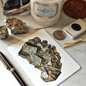 The Punctilious Mr. P's 'Minerals No. 2' note card set on marble ledge with crystals on top