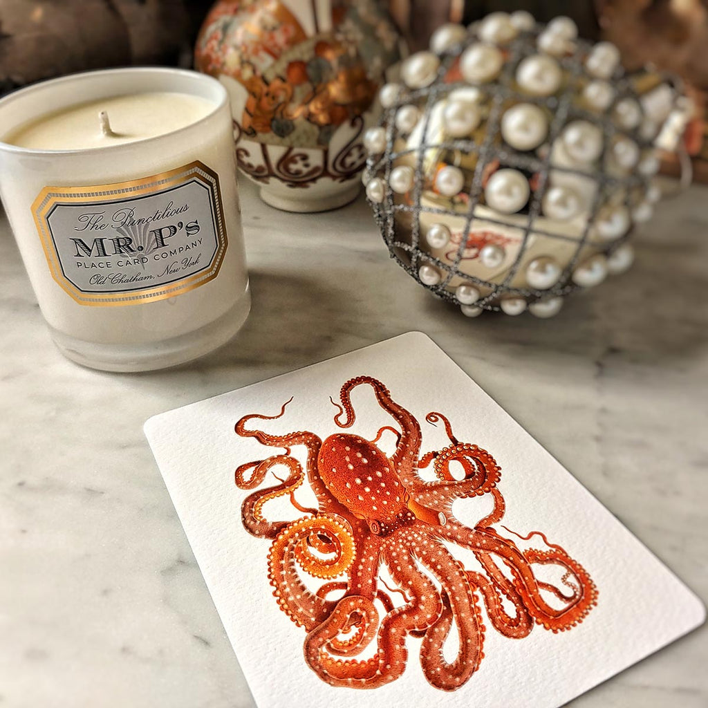 The Punctilious Mr. P's 'octopodes & conch' personalized note card showing a beautiful red octopus illustration