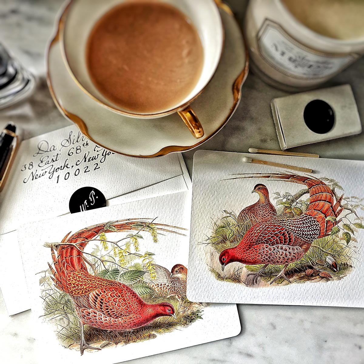 The Punctilious Mr. P's 'asian pheasants' note card pack featuring all 2 cards with red pheasants