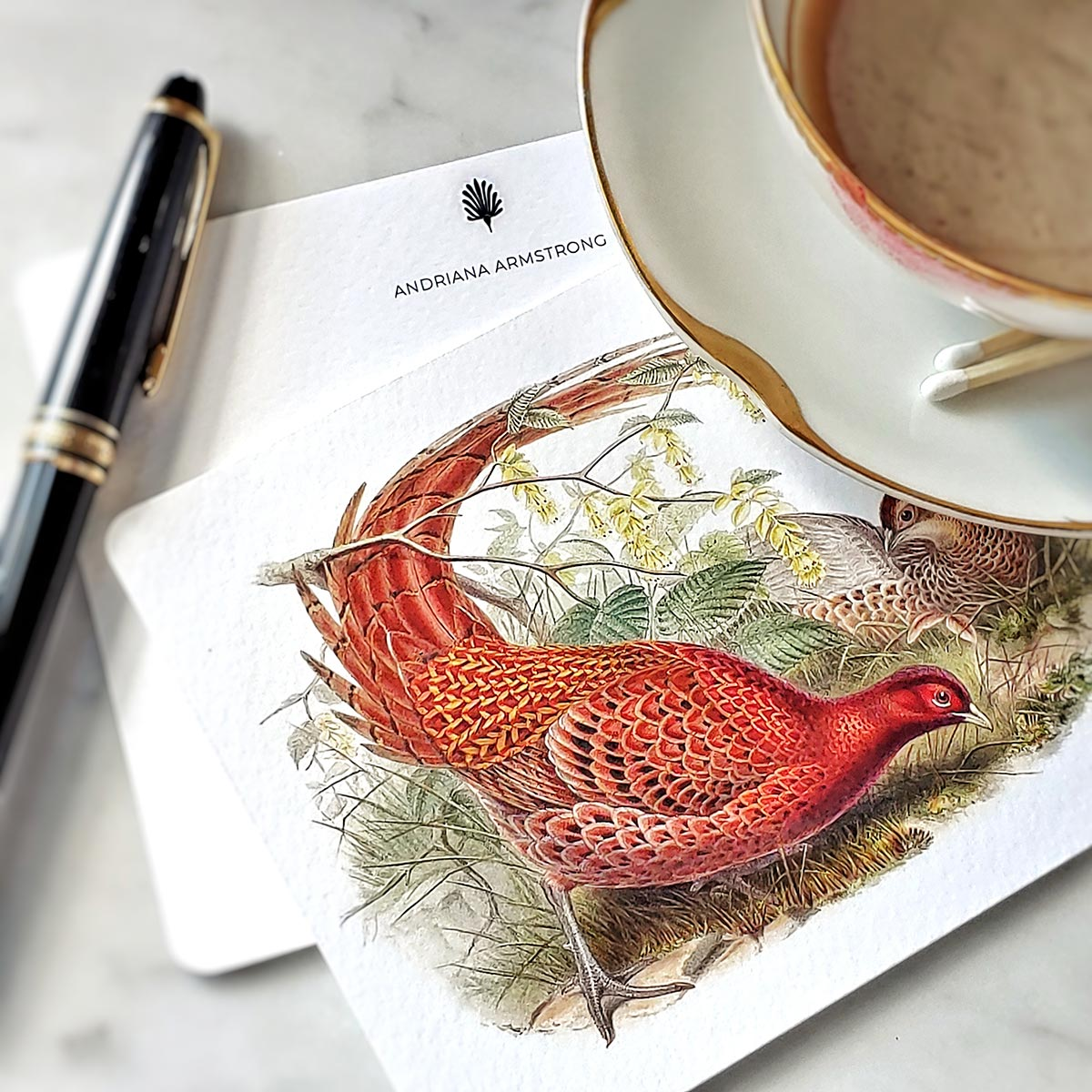 showing a detail of the pheasant on a Mr. P's note card, with personalized name on the back
