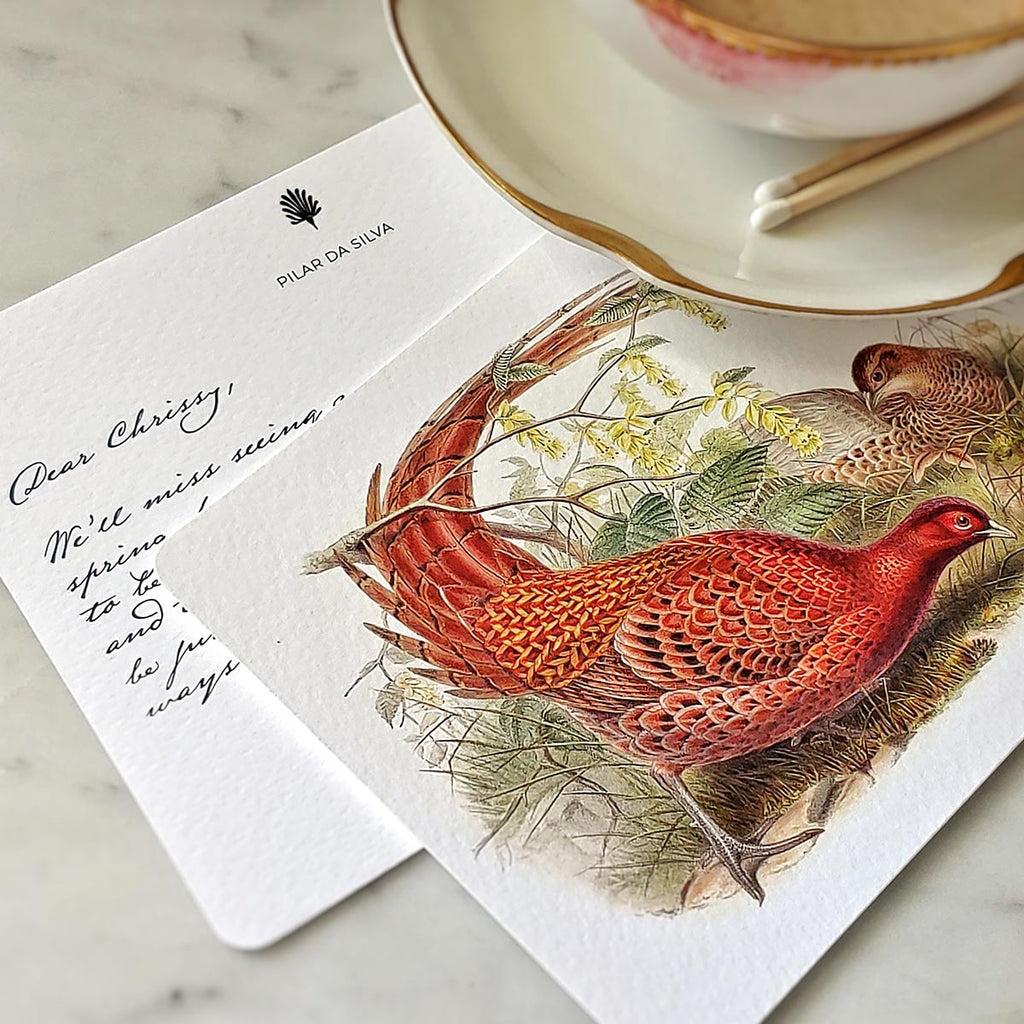 The Punctilious Mr. P's 'Asian Pheasants' individual note card with digital digital calligraphy