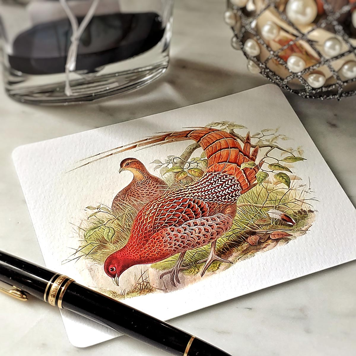 showing a detail of the pheasant on a Mr. P's note card