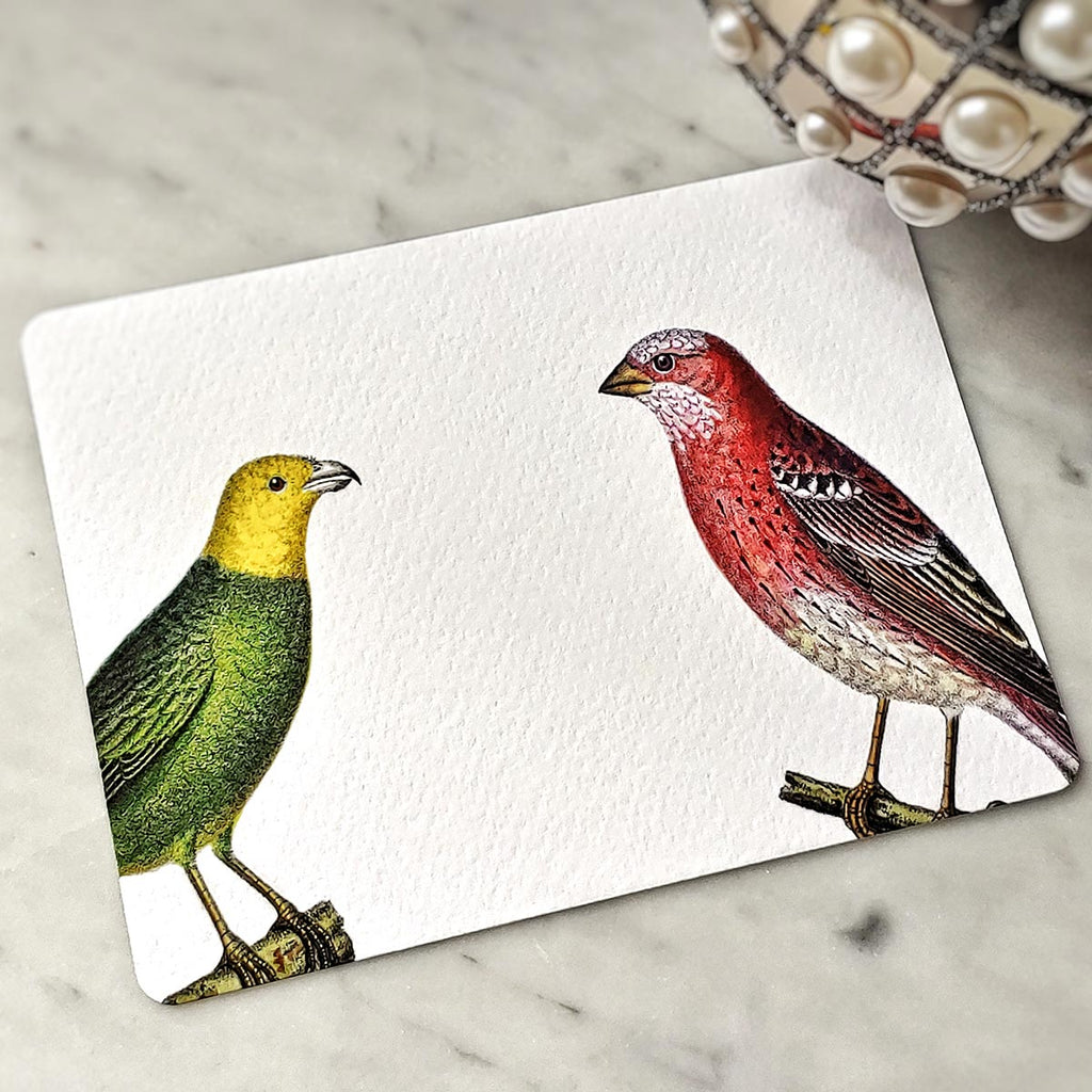 The Punctilious Mr. P's 'chromatic cuckoo' personalized note card showing yellow and red birds