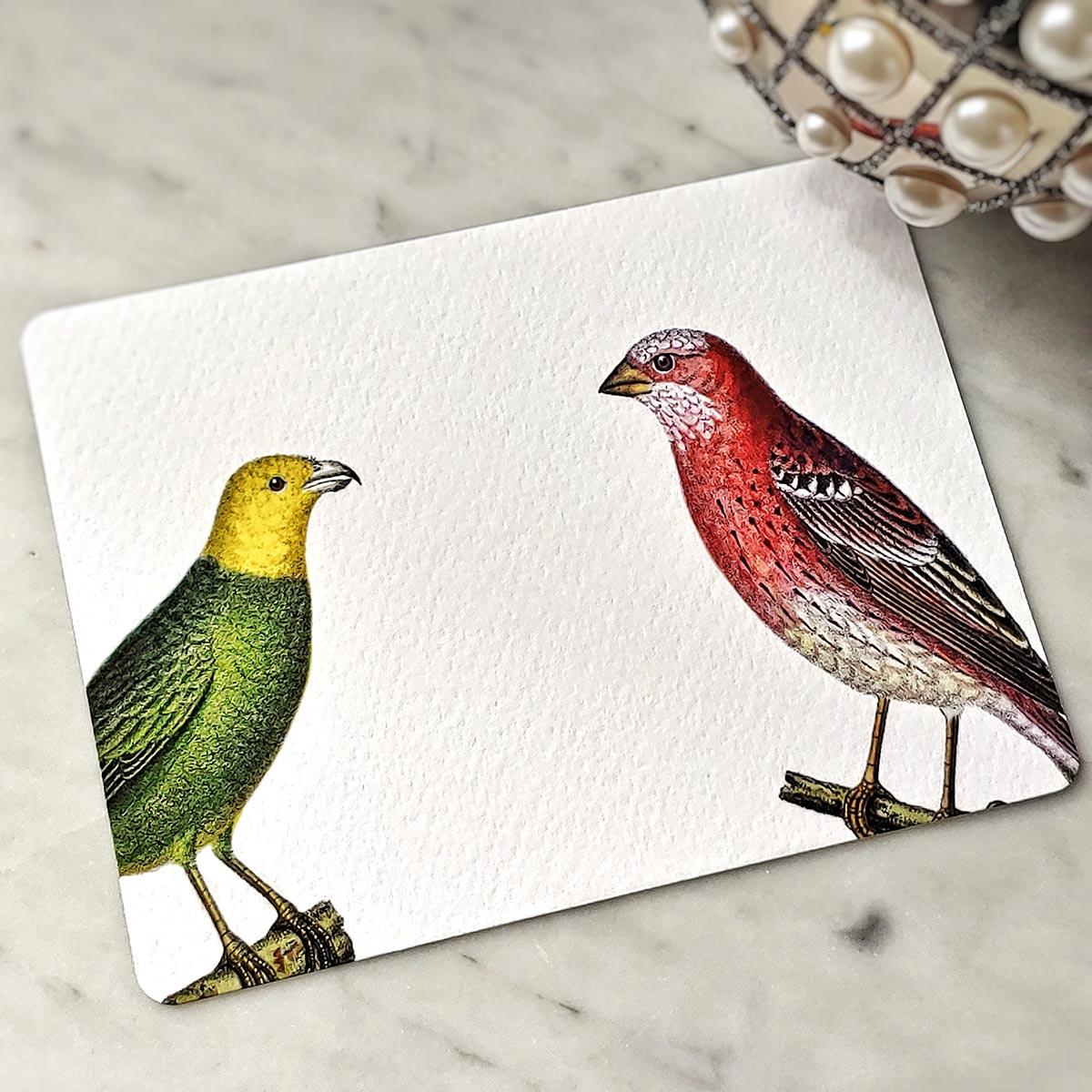 The Punctilious Mr. P's 'chromatic cuckoo' note card pack- showing green and red birds