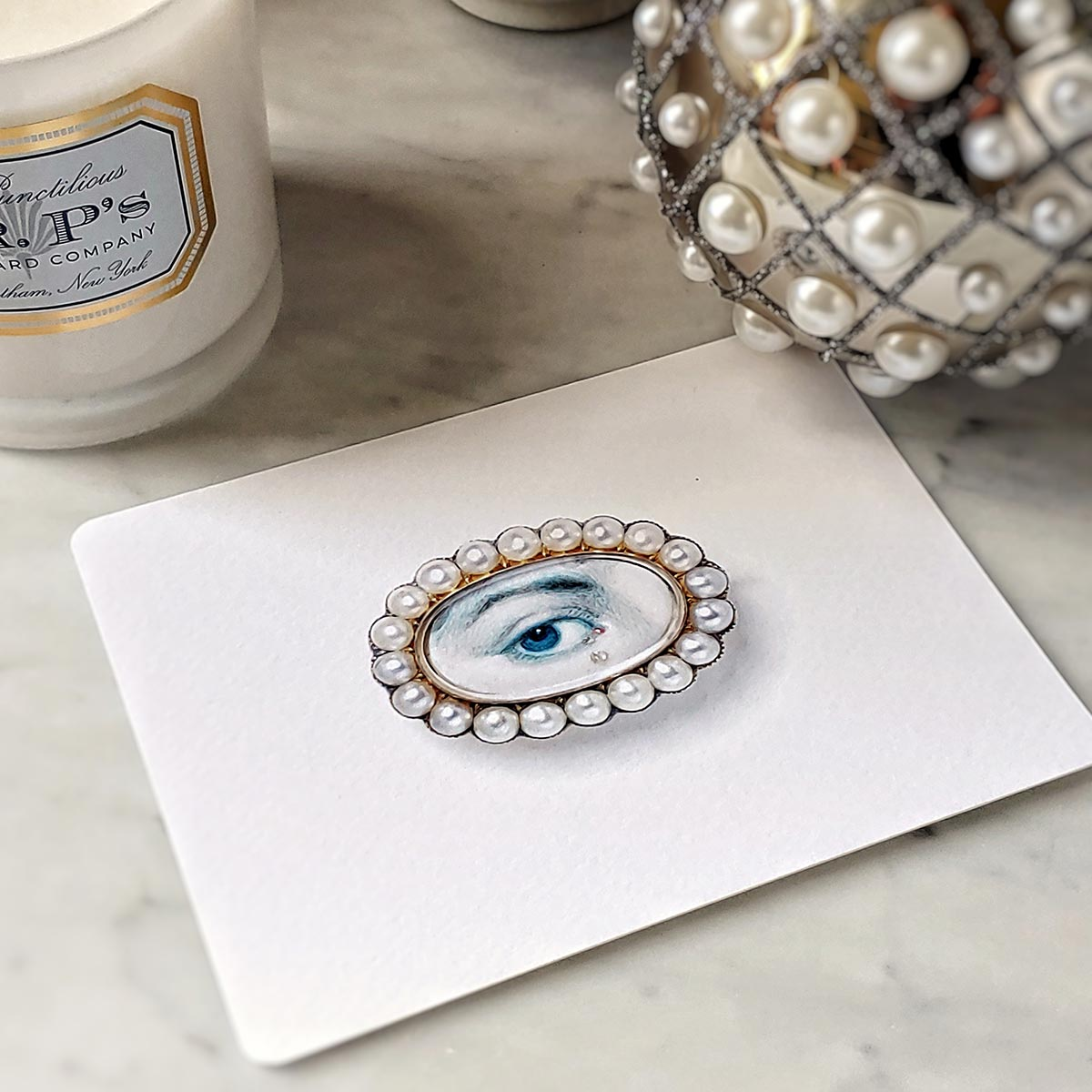 The Punctilious Mr. P's 'lover's eye- pearl' personalized note card