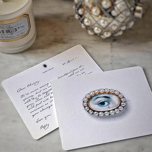 The Punctilious Mr. P's 'lover's eye- pearl' personalized note card with old kinderhook script