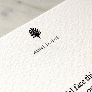 Detail of The Punctilious Mr. P's note card showing personalized name--- 'Aunt Dodie""